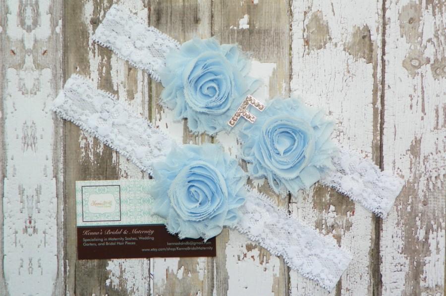 Свадьба - Monogram Wedding Garters, Initial Garter Set, New Last Name Garters, Rhinestone Initial, Bridal Shower Gift, White Lace Garters, Blue