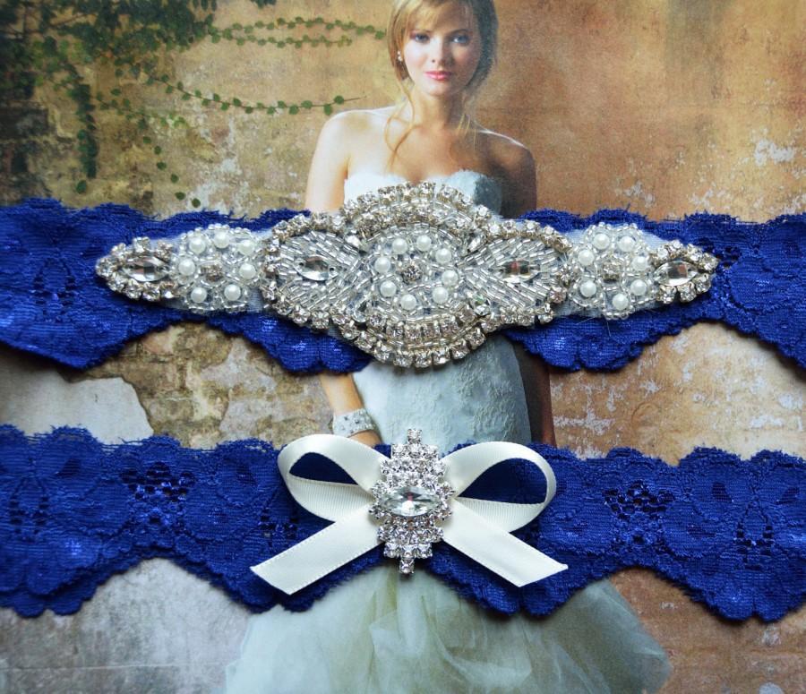 Wedding - Wedding Garter Set, Bridal Garter Set,  Royal Blue  Lace Wedding Garter, Pearl Garter, Rhinestone Garter -Grace Style 10525