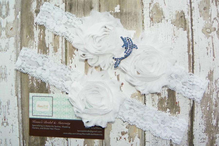 زفاف - Porpoise Garter Set, Dolphin Wedding Garters, Beach Wedding, Destination Wedding, Rhinestone Dolphin, White Lace Garter, Ocean Wedding, Blue