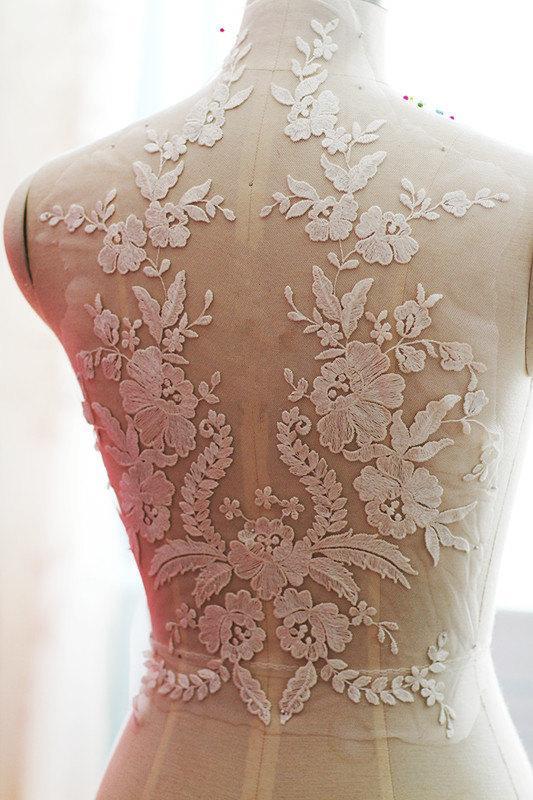 زفاف - ivory wedding lace applique, bridal lace applique for wedding gown, bodice