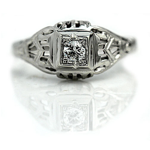Hochzeit - Vintage Engagement Ring 0.15ct Diamond Wedding Ring 18K White Gold Antique Engagement Art Deco Filigree Ring Size 6.5!