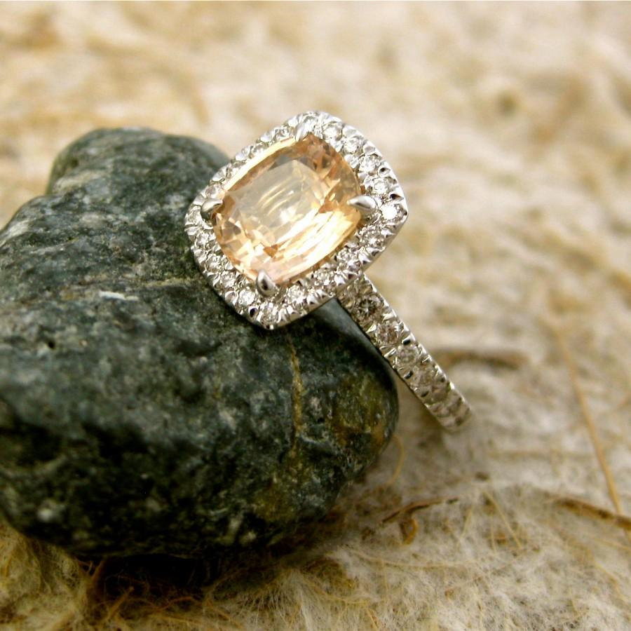 Свадьба - Peach Champagne Sapphire Engagement Ring with Diamonds in 18K White Gold Size 6
