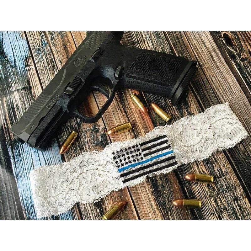 Nozze - THIN BLUE LINE Garter / Police Wedding Garter / lace garter / toss garter