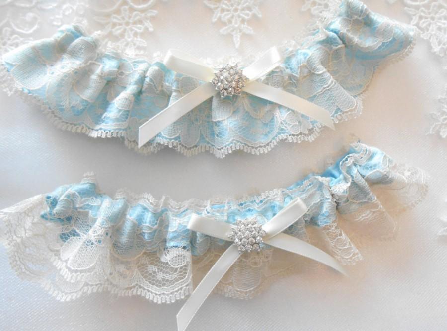 Hochzeit - Wedding Garter Set IVORY WHITE Antique Ivory and Black Lace over Satin Choose Pearl and Rhinestone Cluster CUSTOM Color Satin Garter Set