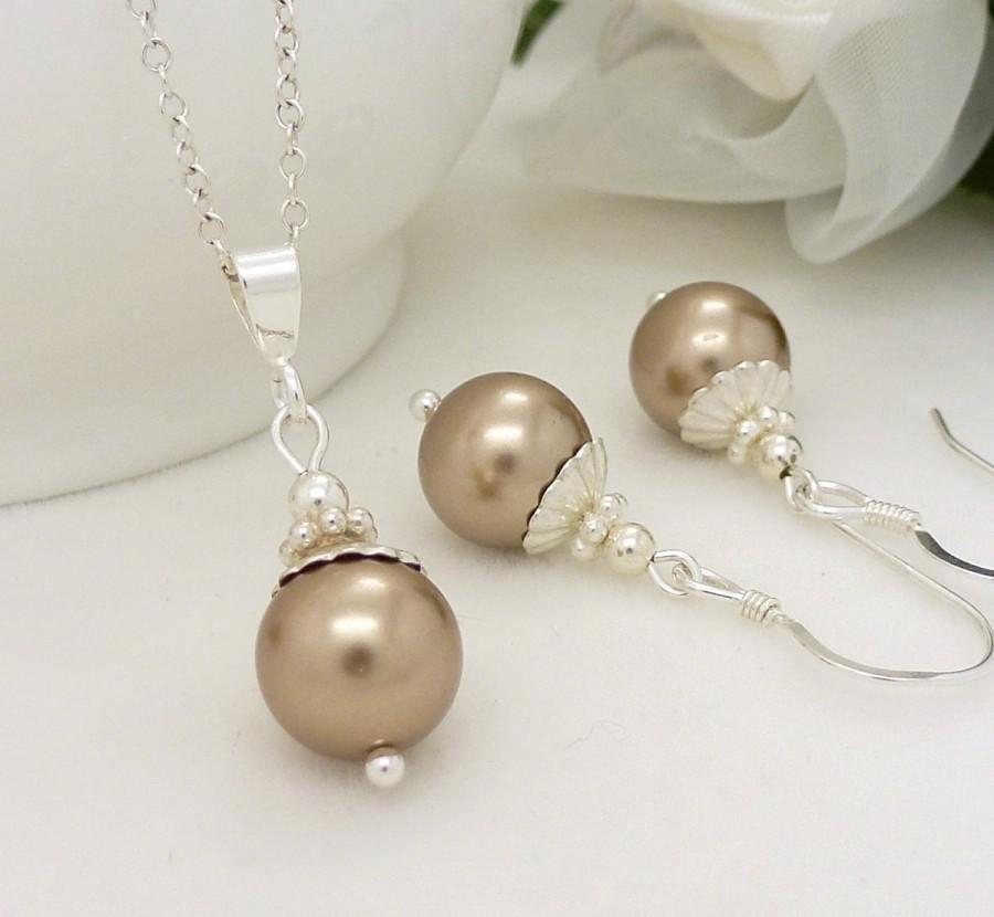 Wedding - Champagne Bridesmaid Jewelry Set, Light Brown Champagne pearl Bridesmaid Necklace Earrings