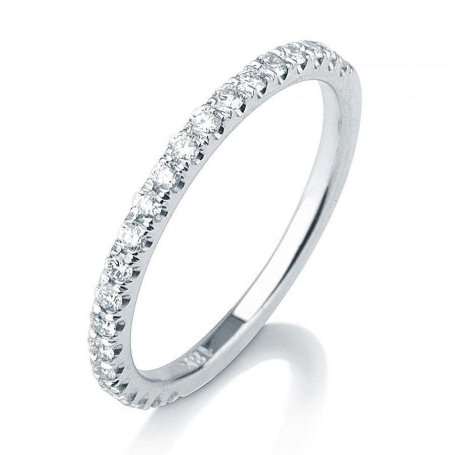Micro Pave Diamond Wedding Band, Delicate Wedding Band