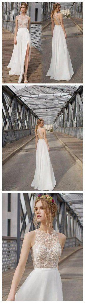 Wedding - Beautiful White Side Split Prom Dress, Open Back Charming Bridesmaid Dresses, Cheap Simple Beach Wedding Dress, WD0190