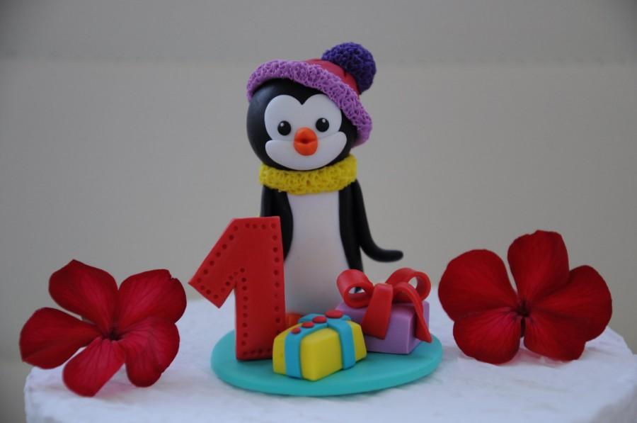 First Birthday Cake Topper Penguin Cake Topper Penguin Figures