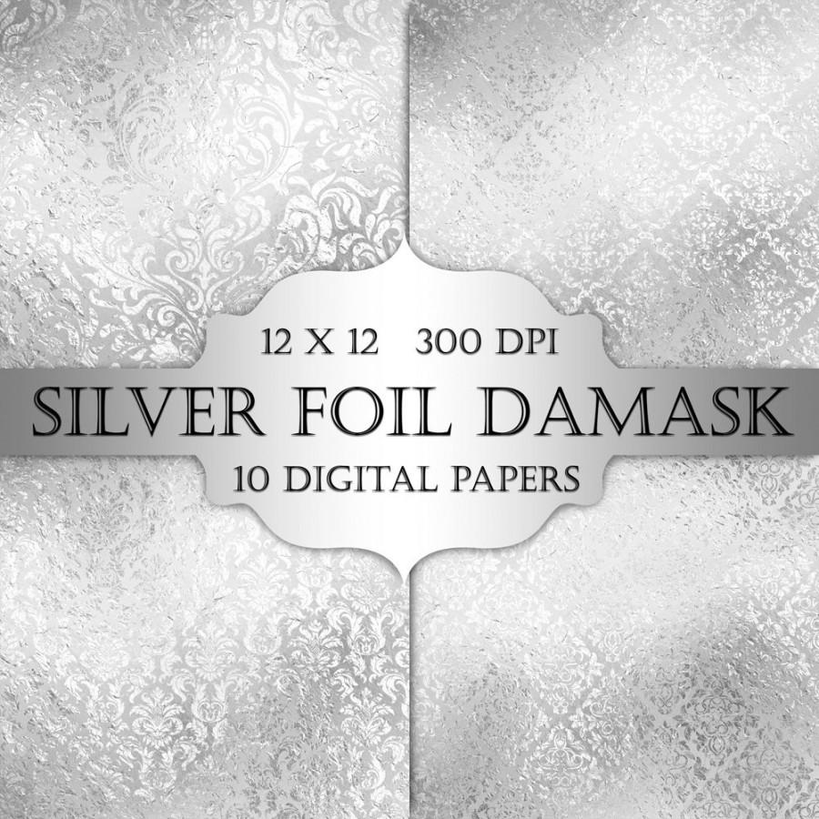 photo regarding Printable Foil Paper called Silver Foil Damask Electronic Paper - Silver, Floral, Gray