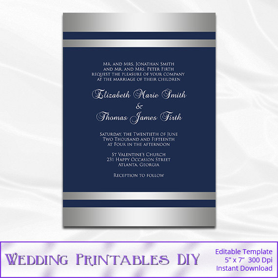 Navy Silver Wedding Invitations Template Diy Blue Silver Foil
