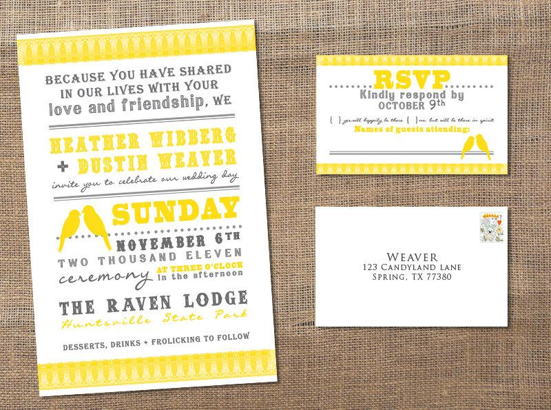 Hochzeit - 2 Little Yellow Birds - Wedding Invitation