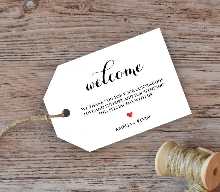 Wedding welcome tag welcome bag tag favor tag diy kraft for Goodie bag tag template