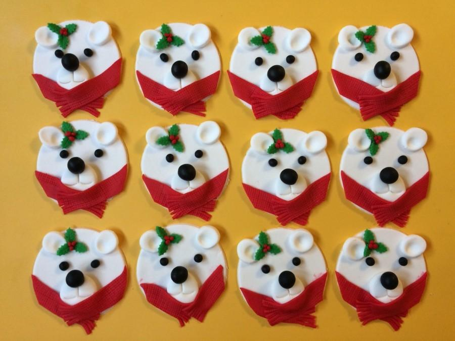 Свадьба - christmas White Polar Bear cupcake toppers 12pcs edible fondant cookie topper decorations holiday jolly gifts frozen winter fondant edible