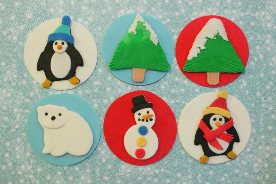 Свадьба - 12 christmas holiday edible fondant cake cupcake cookie topper frozen decoration pine tree north pole polar bear penguin snowman winter