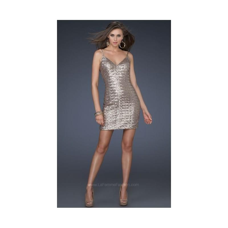 Sexy Bronze Sequin V Neck Cocktail Dress La Femme 17023 - Brand ...