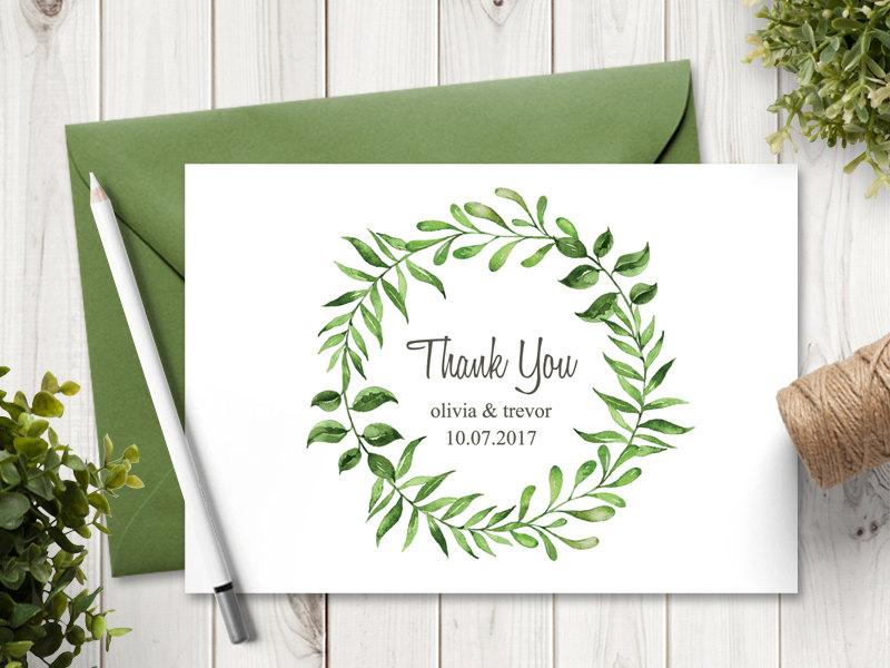 Watercolor Wreath Wedding Thank You Card Template Lovely Leaves