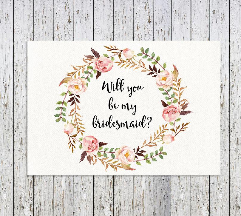 graphic about Will You Be My Bridesmaid Printable identify Will Oneself Be My Bridesmaid, Floral Printable Bridesmaid Card