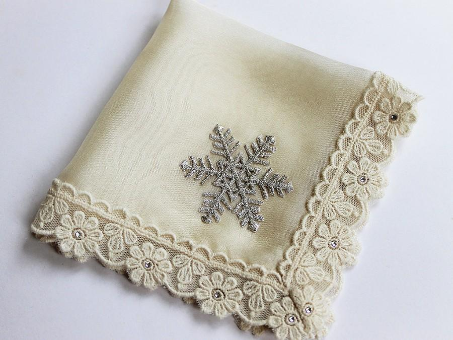 snowflake wedding hanky winter wedding bridemother of bride giftmother of groom gift silk handkerchief bridal shower gift