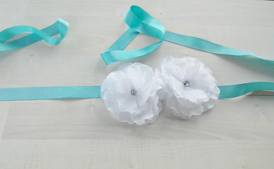 Wedding - Turquoise bridal floral belt, Wedding dress sash, Bridesmaids sash, Bridal flower sash, Chiffon floral belt, Dress Blue Belt, Dress flower