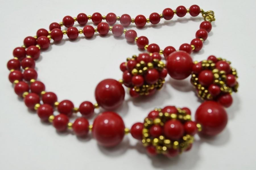 Red Coral Beaded Jewelry Necklace, Holiday And Everyday Seed Bead ...