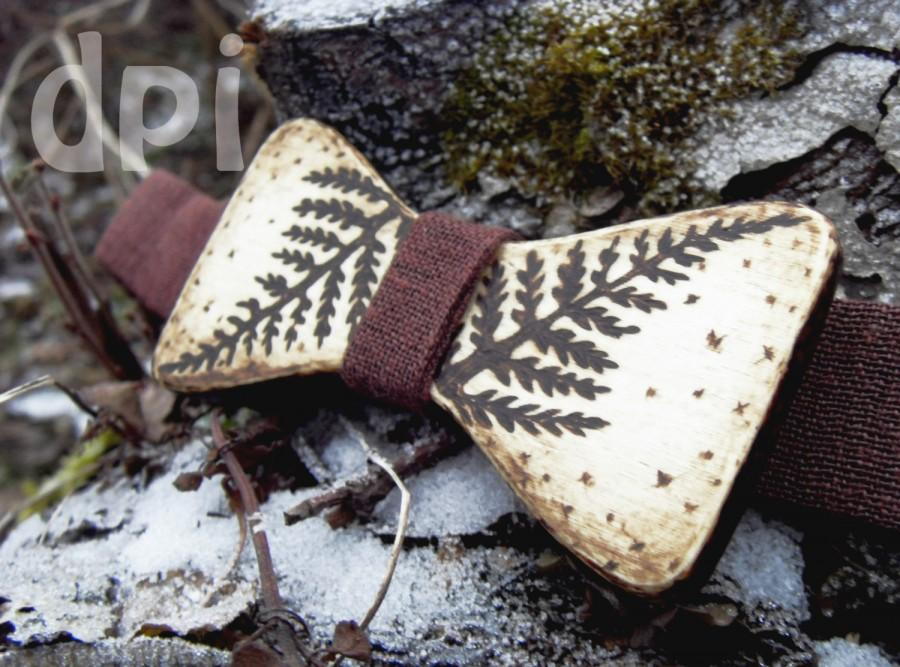 """Wedding - Christmas gift wooden bow tie, eco friendly bowtie, pyrography bowties, mens bow ties, bow tie """"Fern"""""""