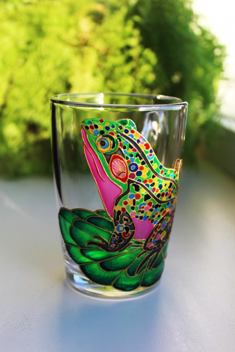 Wedding - Frog coffee Mug, Hand Painted mugs, Glass Coffee Mug, Funny mugs, frog mug, Custom mug, personalized mug, gift for her, unique mug