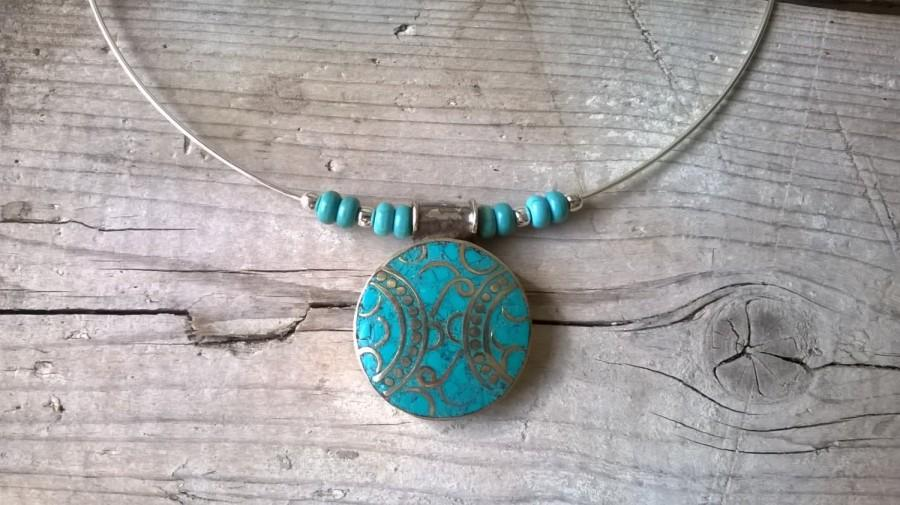 Wedding - Ethnic Tibetan turquoise, Tibetan silver pendant charm necklace, necklace Boho, ethnic jewelry, necklace Gypsy turquoise, free people