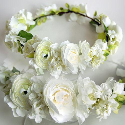 White Flowers High Quality Silk Flower Hair Wreath Flower Crown