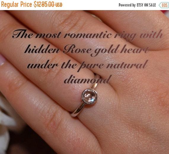 On Sale Diamond Ring 18k White Gold Hidden Heart Wedding Ring