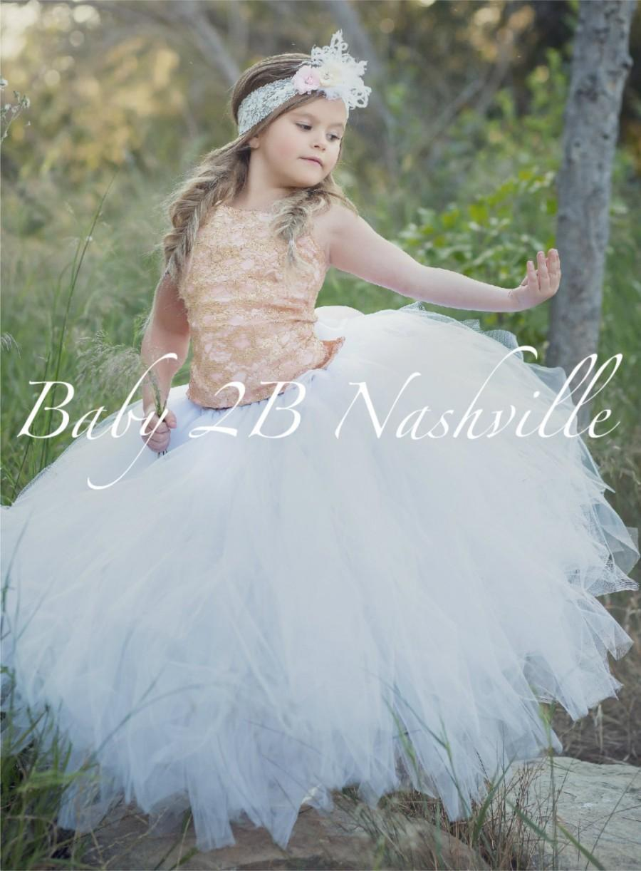 33fc0f5a6c8 Rose Gold Dress Lace Dress Flower Girl Dress Tulle Dress Wedding Dress  Party Dress Birthday Dress White Tutu Dress Toddler Tutu Girls Dress