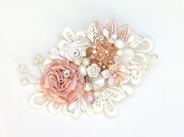 Mariage - Pink Bridal Hair Comb- Pink Bridal hairpiece-Soft Pink Hair Accessory-Pink Bridal Comb-Pink & Ivory Hair Comb-Ivory Bridal Comb-Brass Boheme
