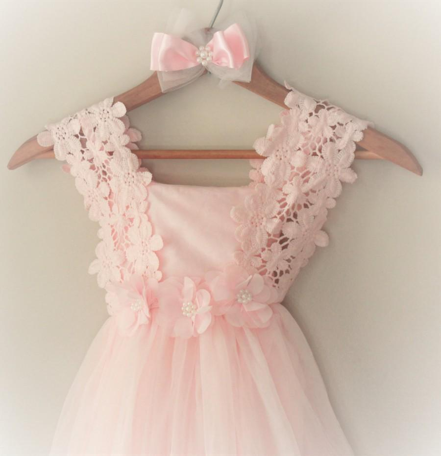Pink Flower Girl Dress Blush Pink Flower Girl Dress Light Pink