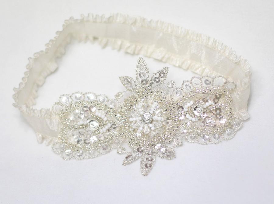 Hochzeit - Garter, ivory garter, wedding garter, bridal garter, keepsake garter