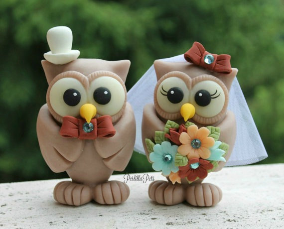 "Свадьба - Owl love bird wedding cake topper, BIG owls more than 4"" tall, with personalized banner"