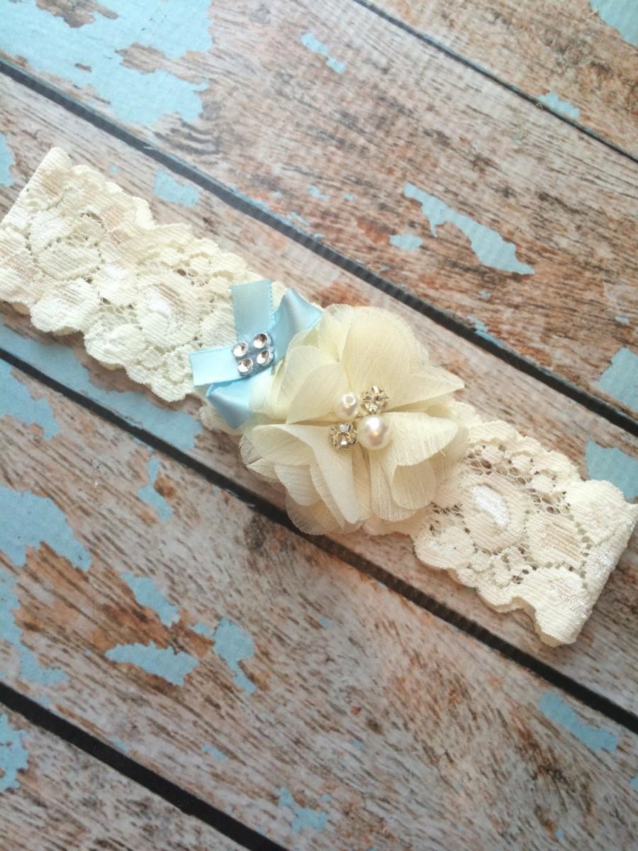 Wedding - something blue TOSS, wedding garter , ivory puff on ivory lace , blue bow