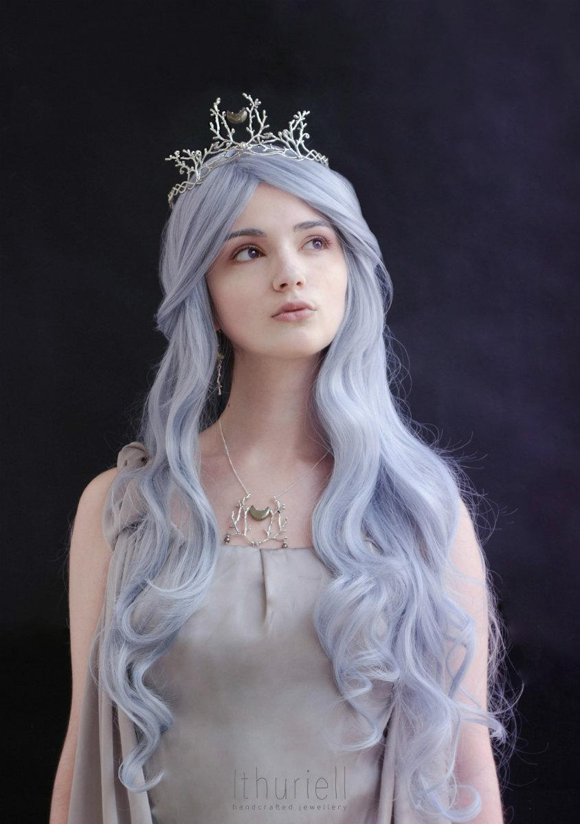 Moonlit Forest Silver Tiara Elven Circlet Celtic Crown