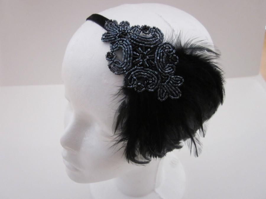 Mariage - Gray Headband  Pewter headpiece flapper dress black feather headband grey Bridesmaids Gifts Fascinator