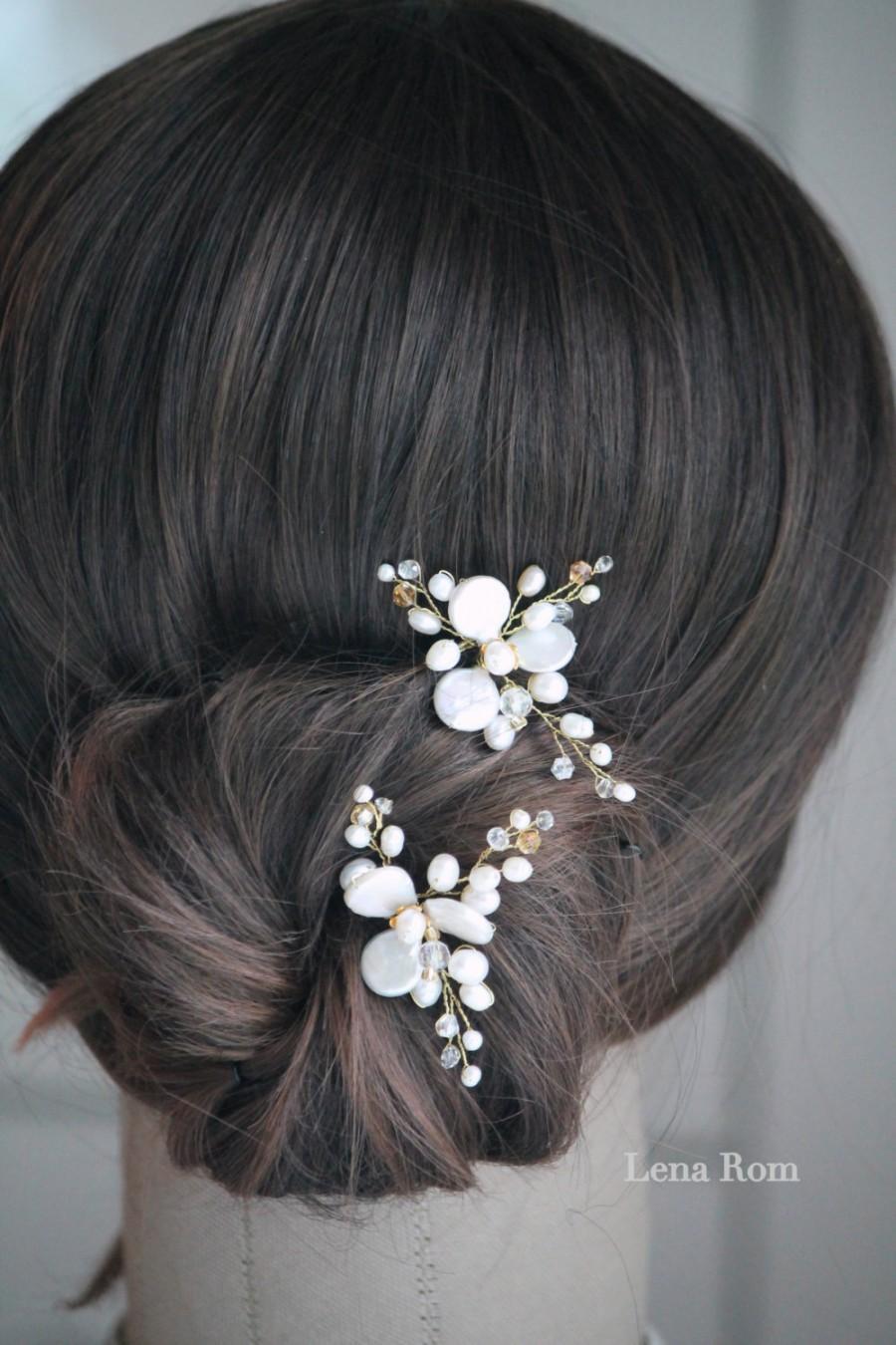 Mariage - Bridal hair pins. Bridal pearl hair pins. Wedding hair pins. Hair pins. Pearl hair pins MOD615