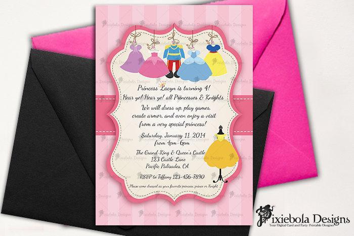 زفاف - Co-Ed Princess Dress Up- Princess/Prince Birthday Invitation- Design Fee