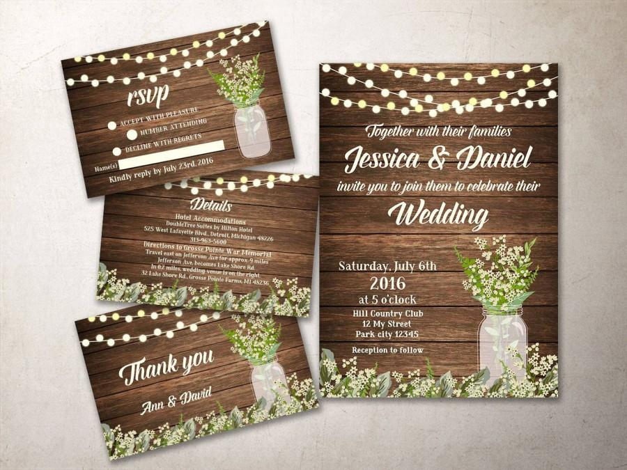 wedding invitation kit printable rustic wedding invitation baby breath mason jar wedding invite printable wedding invitation suite - Printable Wedding Invitation Kits