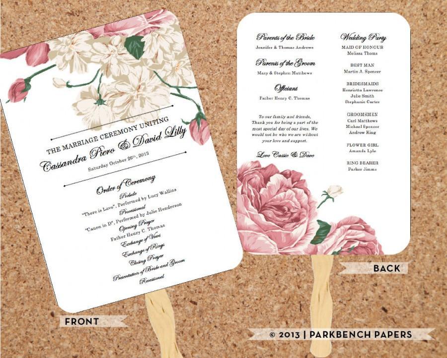 زفاف - Wedding Program - Bold Floral - DIY Editable Word Template, Instant Download, Printable, Edit your text & Print at Home
