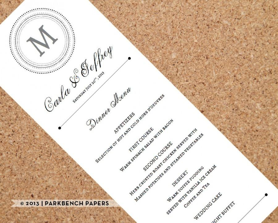 wedding menu card classic monogram style diy editable word template instant download printable