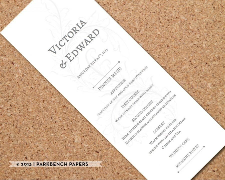 Mariage - Printable Wedding Menu Card - Old Victorian Design -  Editable Word Template, Instant Download, Printable, Edit your text & Print at Home