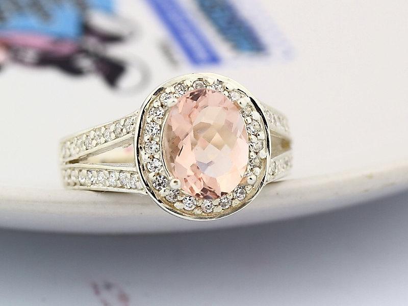 زفاف - Natural Checkerboard Cut Morganite  Solid 14K White Gold Diamond  Ring