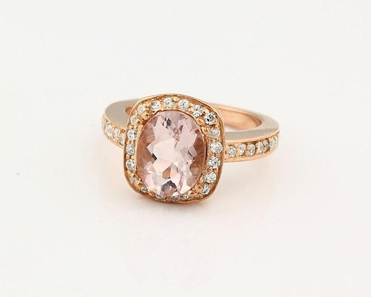 Wedding - Charming Natural 10x8mm Oval   Morganite  Solid 14K Rose Gold Diamond engagement Ring