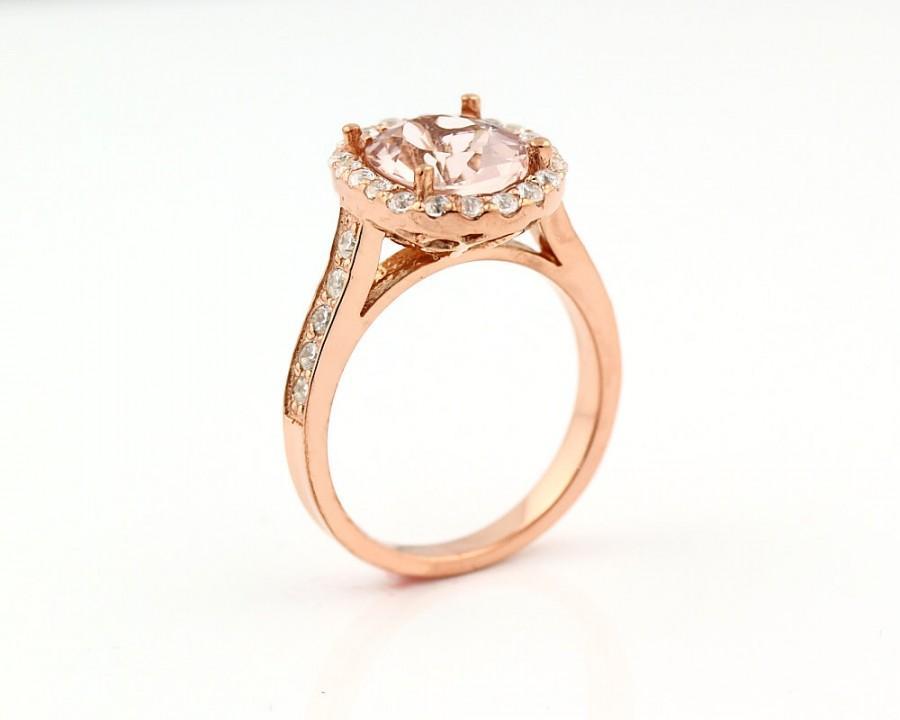 Hochzeit - Natural AAA Facet Cut Morganite  Solid 14K Rose Gold Diamond engagement Ring Gem785