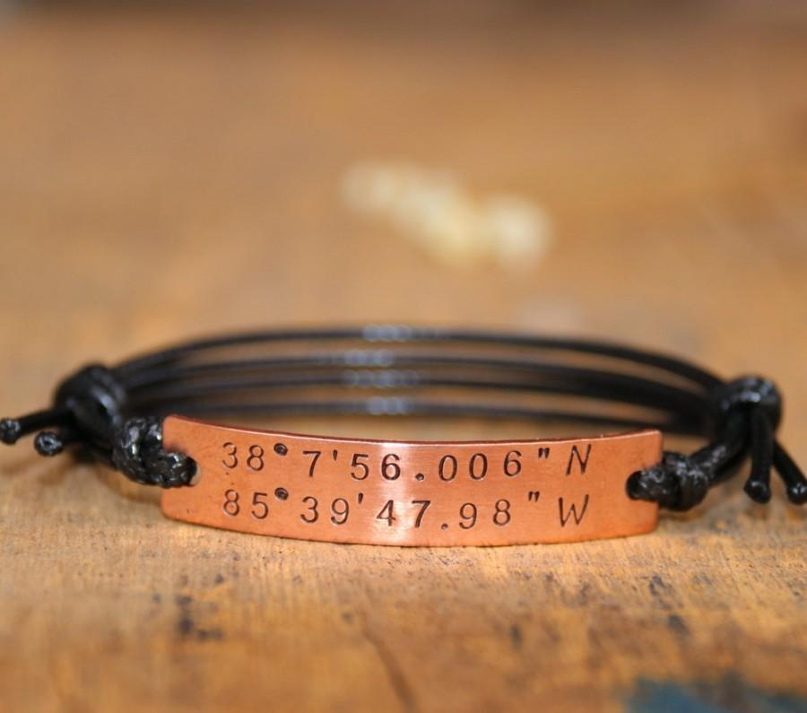 Coordinates Bracelet Personalized Friend Gps Customized Boyfriend Location Anniversary S