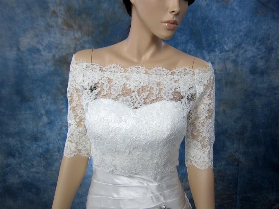 Mariage - Sale- Off-Shoulder Alencon Lace wedding jacket Bolero shrug bridal jacket - was 129.99