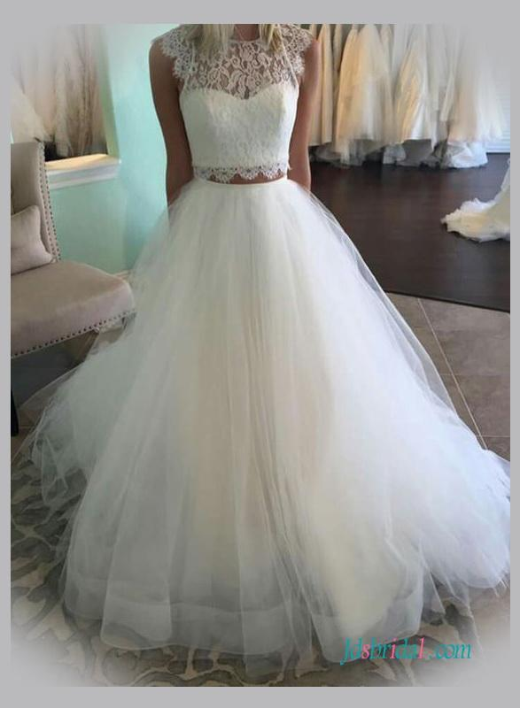 Mariage - Fashionable two pieces separates tulle wedding dress