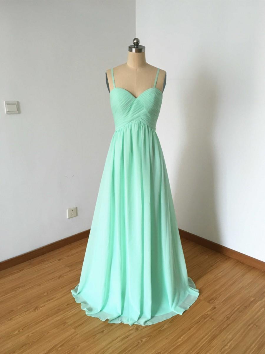 Mariage - Spaghetti Straps Sweetheart Mint Chiffon Long Bridesmaid Dress